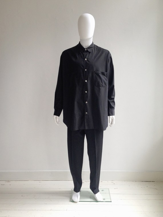 Yohji Yamamoto pour Homme black oversized shirt | shop at vaniitas.com