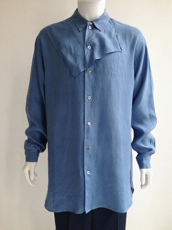 Yohji Yamamoto pour homme mens blue square oversized shirt archive 80s top1
