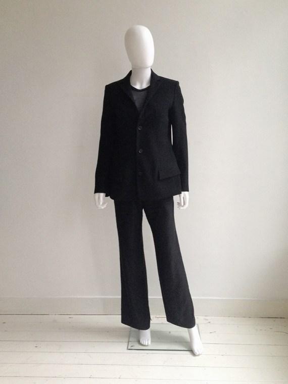 Y's Yohji Yamamoto black structured blazer | Helmut Lang black sheer phoenix top — fall 1995 | Ann Demeulemeester wide trousers | shop at vaniitas.com