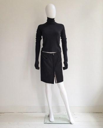Ann Demeulemeester black press button mini skirt — spring 2001