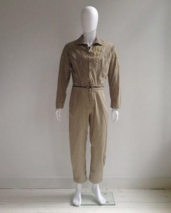 Maison Martin Margiela khaki beige aviator jumpsuit — spring 2002