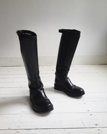 Ann Demeulemeester black Vitello riding boots — fall 2013