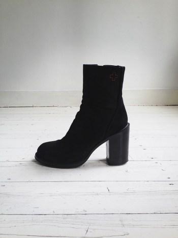 A.F. Vandevorst black suede heeled ankle boots (38)