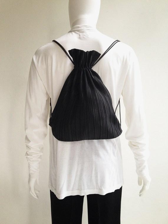 Issey Miyake black pleated drawstring backpack