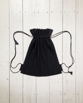 Issey Miyake black pleated drawstring backpack