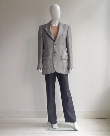 Maison Martin Margiela artisanal silver painted tweed blazer — spring 1999
