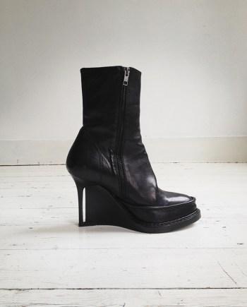 Ann Demeulemeester black slit wedge boots (39.5) — fall 2010