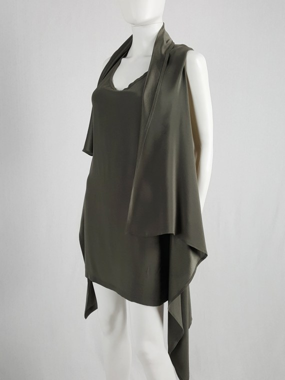Ann Demeulemeester green draped shawl dress