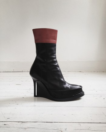 Ann Demeulemeester black slit wedge boots — fall 2010