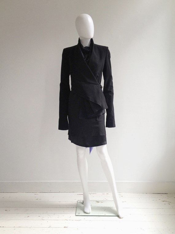 Haider Ackermann black asymmetric front drape jacket — fall 2008 | shop at vaniitas.com