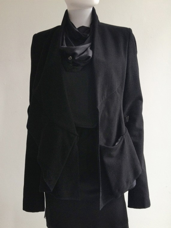 Haider Ackermann black asymmetric front drape jacket — fall 2008