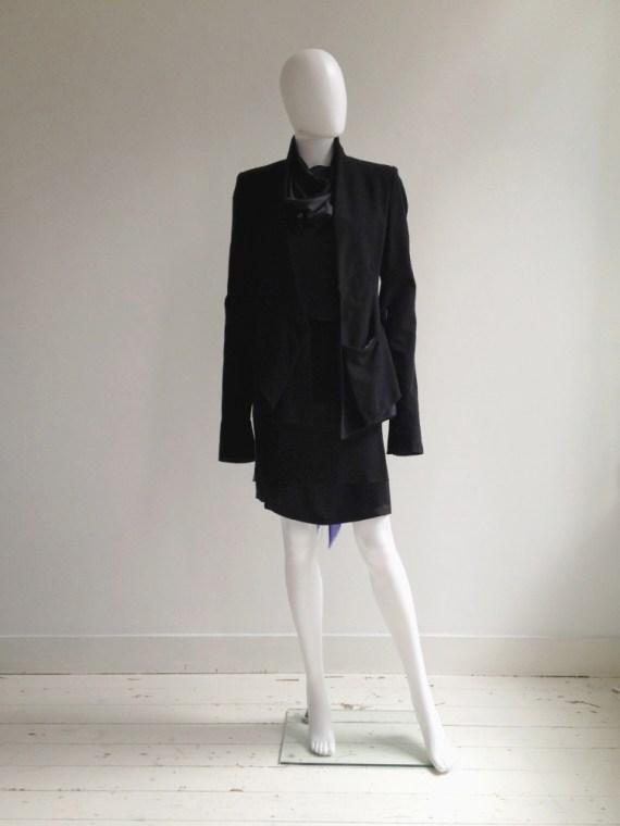 Haider Ackermann black asymmetric front drape jacket — fall 2008