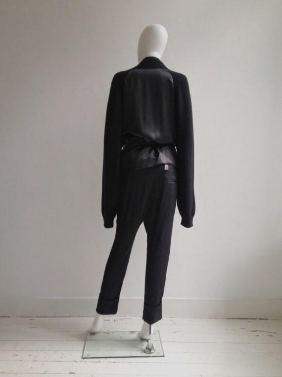 Haider Ackermann black cardigan with silk back panel
