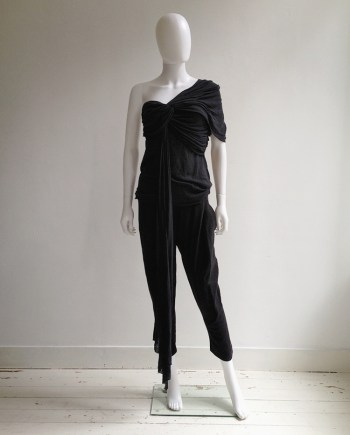 Haider Ackermann black draped top with sash