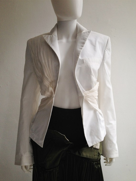 Haider Ackermann white pleated cut-out blazer — spring 2012