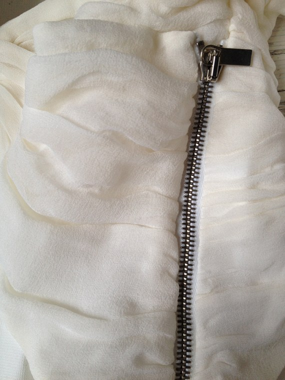 vintage Haider Ackermann white pleated cut-out blazer