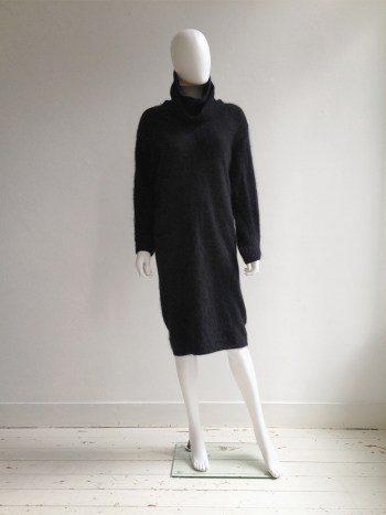 Issey Miyake black double collar dress