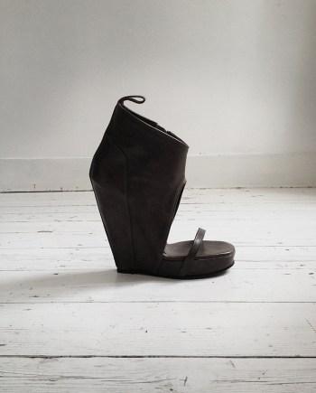 Rick Owens grey cutout wedge sandal