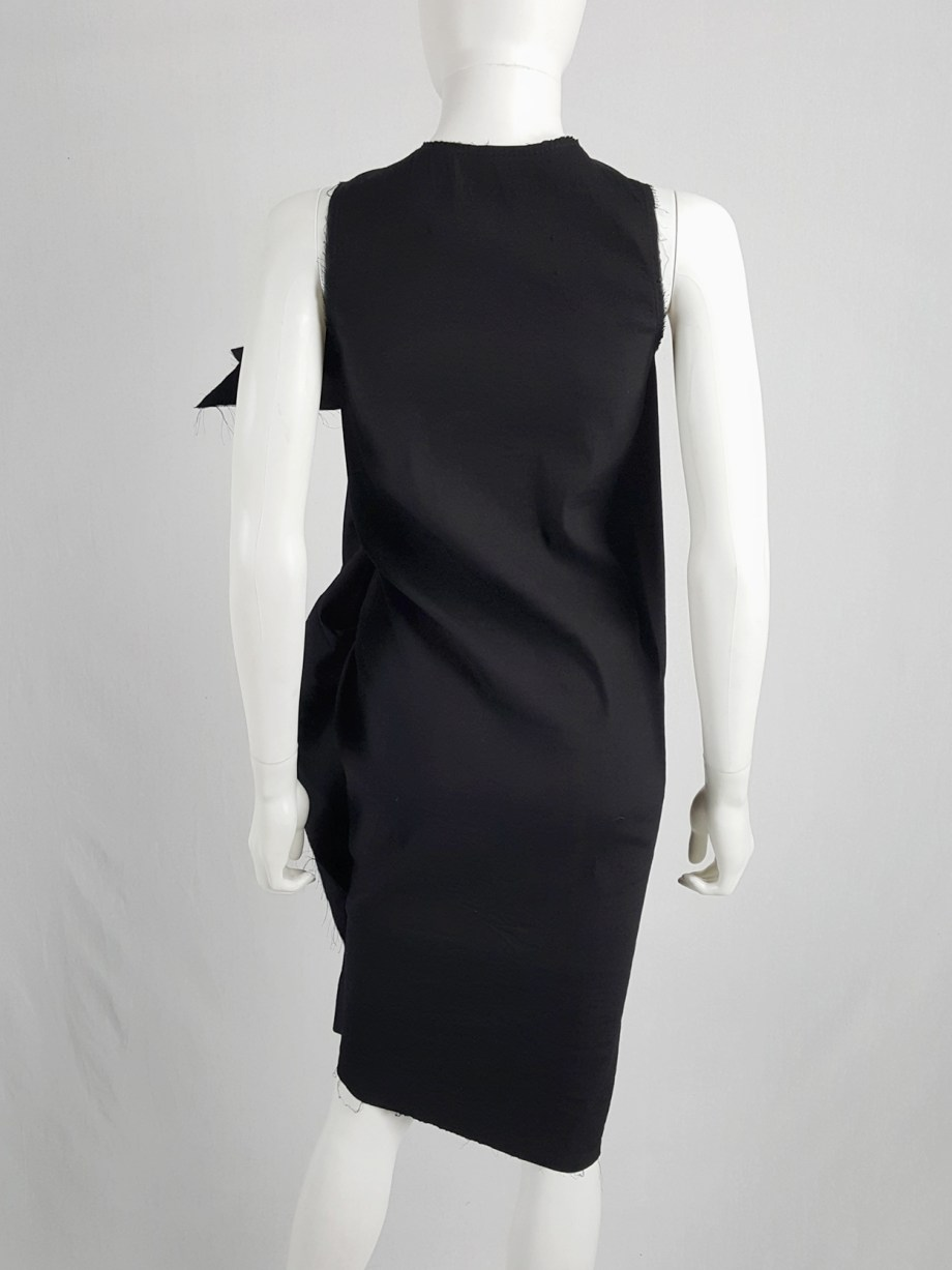 Vaniitas Uma Wang black dress with sculptural front drape spring 2013 145212