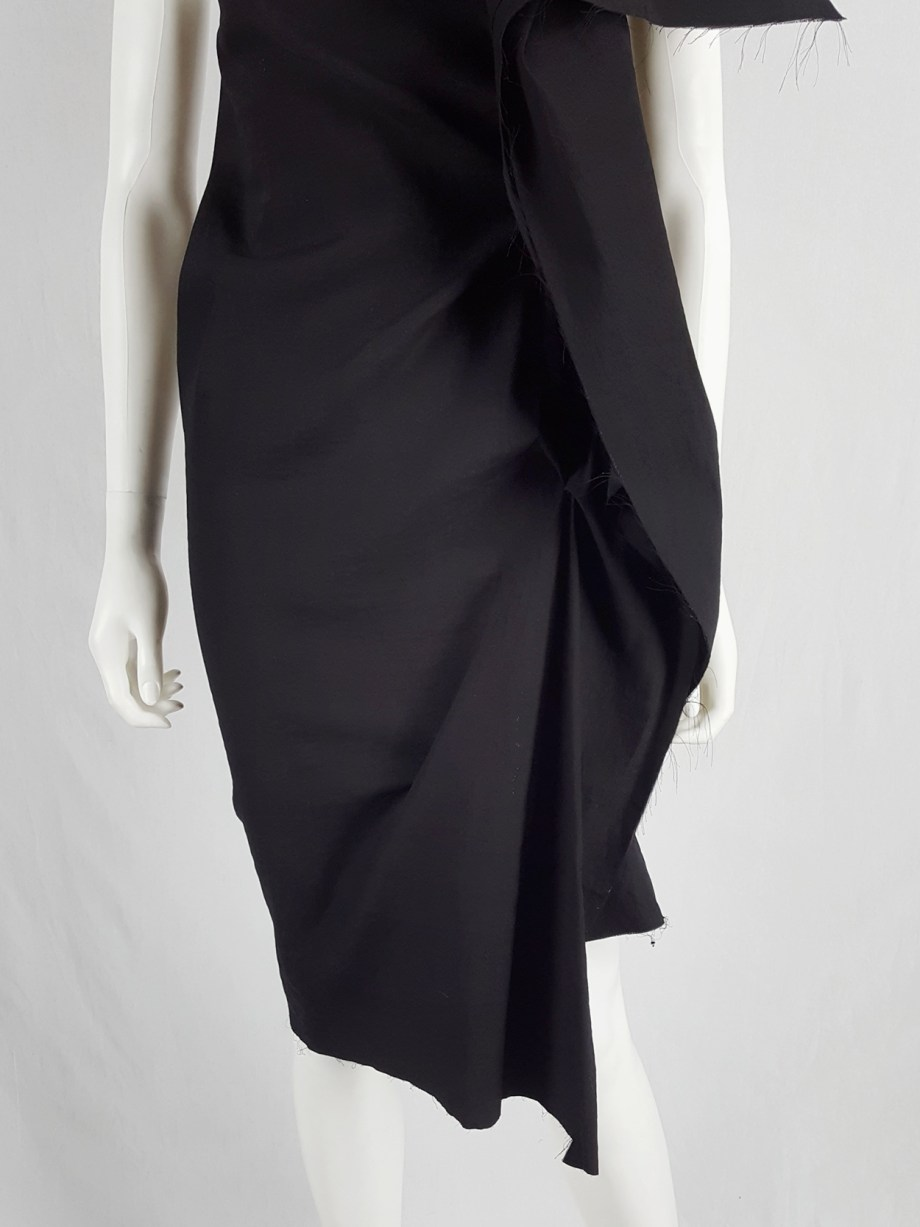 Vaniitas Uma Wang black dress with sculptural front drape spring 2013 145434