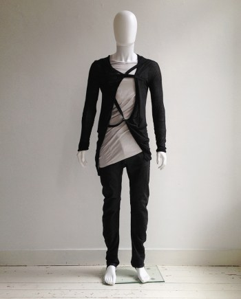 Boris Bidjan Saberi black cardigan with straps