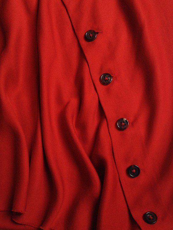 Ann Demeulemeester red asymmetrical button skirt