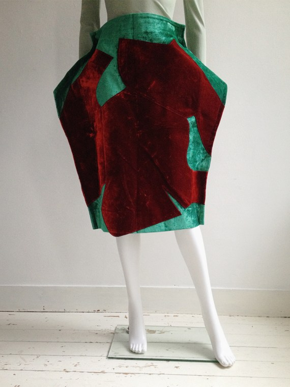 Comme des Garçons red and green 2D paperdoll skirt — fall 2012