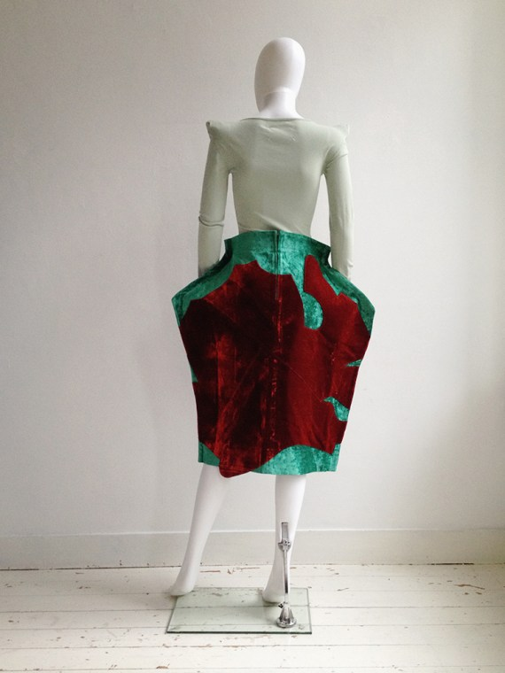 Comme des Garcons red and green 2D paperdoll skirt runway fall 2012 6842