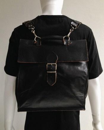 Lieve Van Gorp black leather backpack