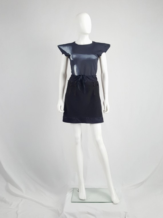 Maison Martin Margiela artisanal black and blue mini skirt 104030