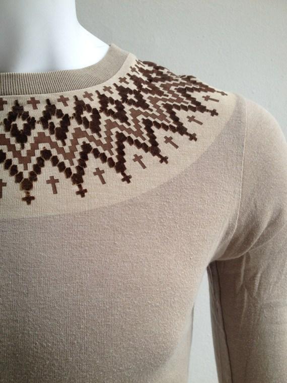 Number (n)ine beige longsleeve top with printed collar