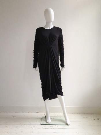 Rick Owens Lilies grey gathered longsleeve dress