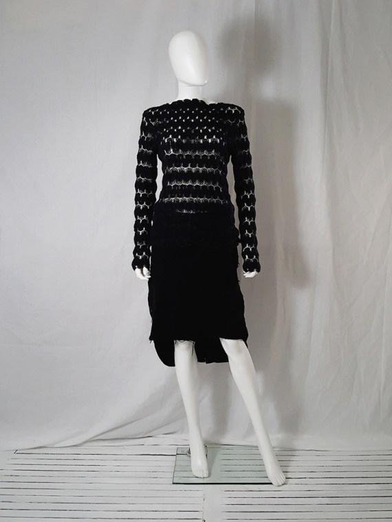 Dries Van Noten black curved knit jumper 131521
