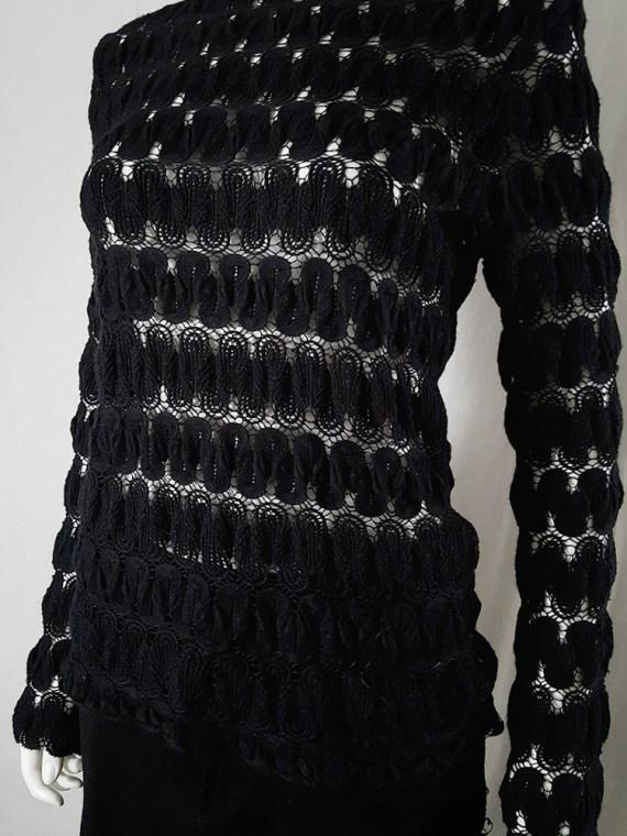 Dries Van Noten black curved knit jumper 131557