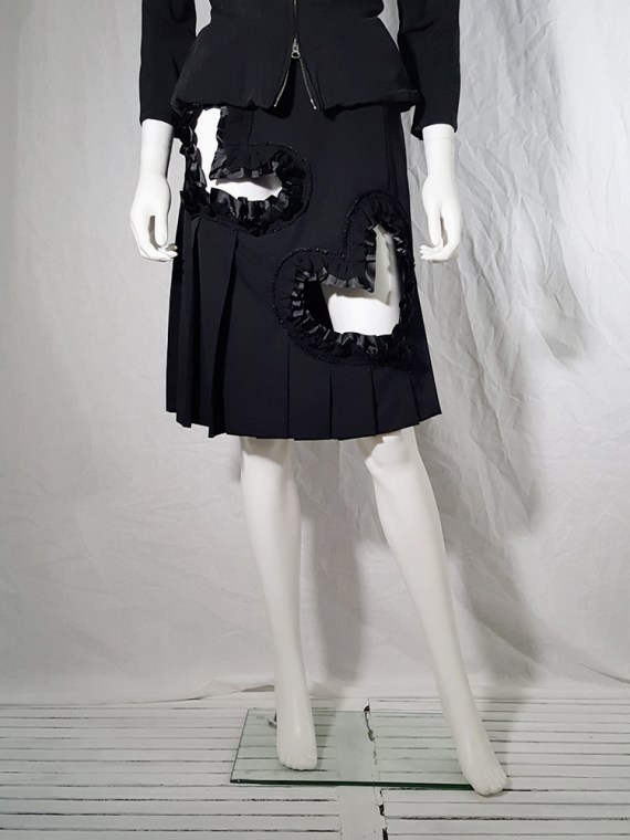 vintage Comme des Garcons black pleated skirt with ruffled hearts cut outs AD2008