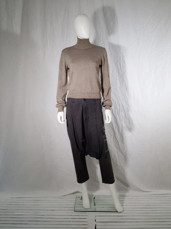 Maison Martin Margiela beige permanently creased turtleneck jumper