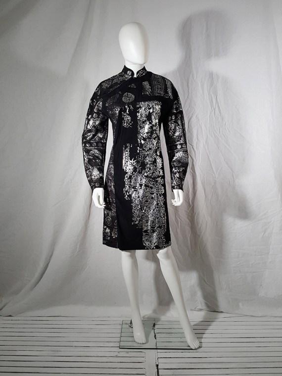 AF Vandevorst black dress with silver Chinese brocade runway spring 2016162718