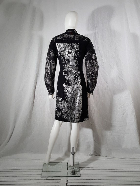 A.F. Vandevorst black dress with silver Chinese brocade — spring 2016