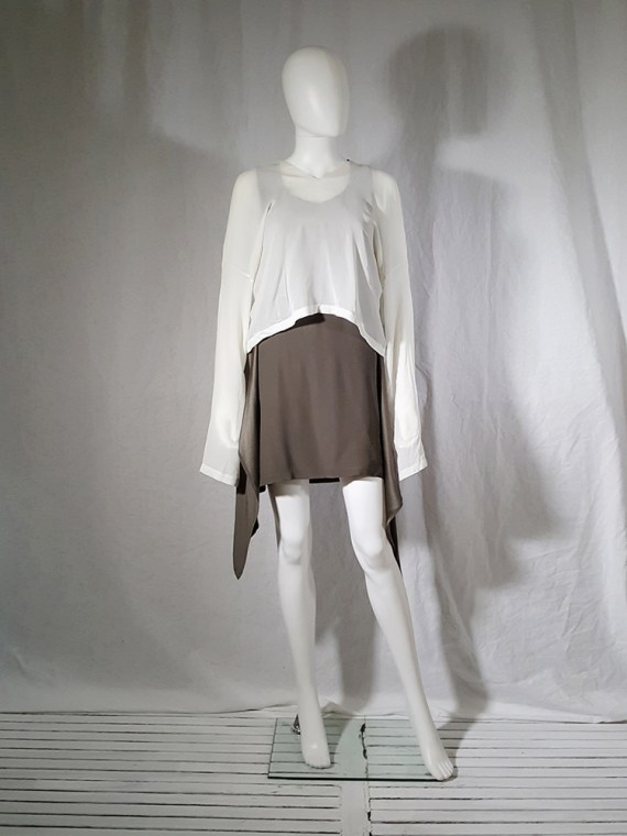 Ann Demeulemeester white silk blouse with back fringes 181001