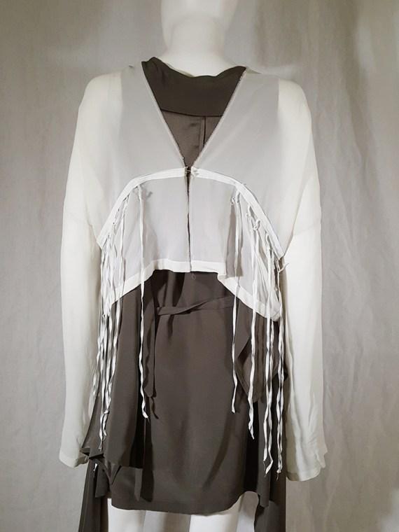 Ann Demeulemeester white silk blouse with back fringes 181235(0)