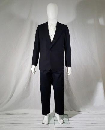 Raf Simons black striped one button blazer — fall 1998