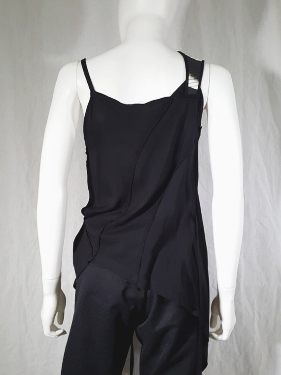 vintage Ann Demeulemeester black transformable top with white shoulder panel spring 2011 161741(0)