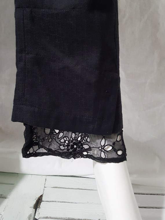 vintage Ann Demeulemeester black trousers with lace trim 1990s 160052