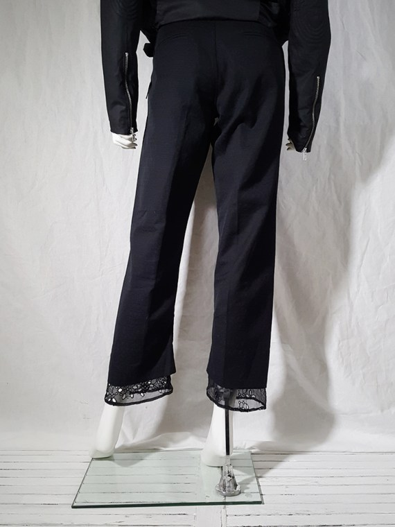 vintage Ann Demeulemeester black trousers with lace trim 1990s 160321