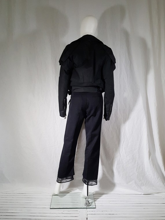 vintage Ann Demeulemeester black trousers with lace trim 1990s 160329