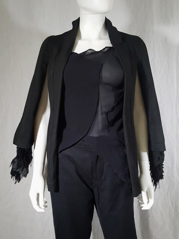 vintage Comme des Garcons dark blue blazer with ruffled sleeves spring 2000 170635