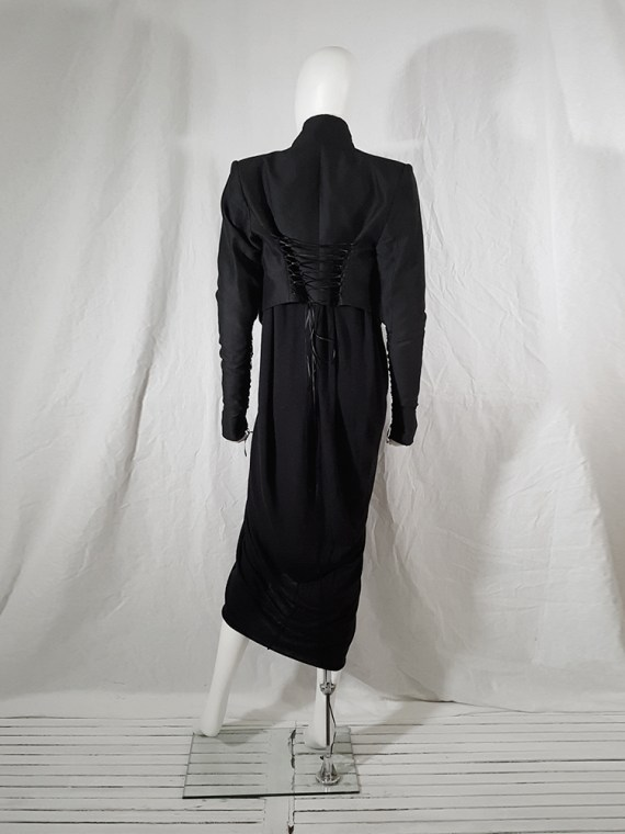 vintage Haider Ackermann black jacket with lace up back and sleeves runway fall 2008 160522(0)