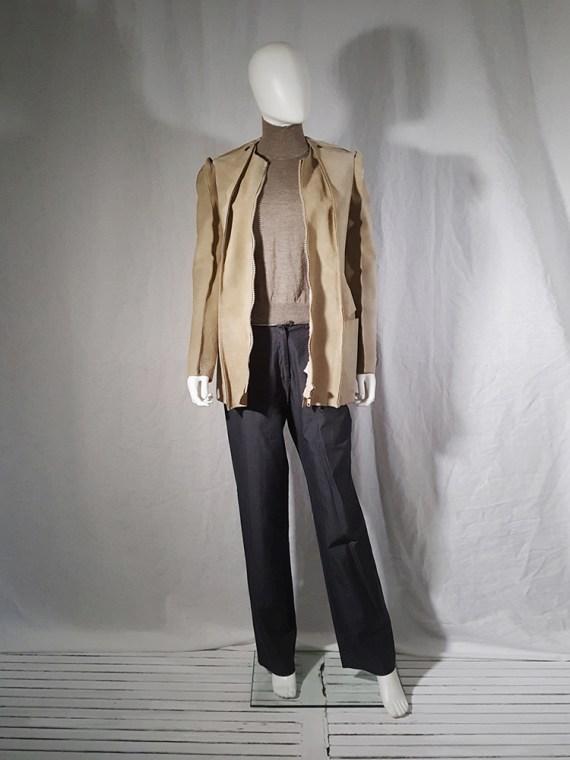 vintage Maison Martin Margiela beige leather flat jacket spring 1998 185703(0)