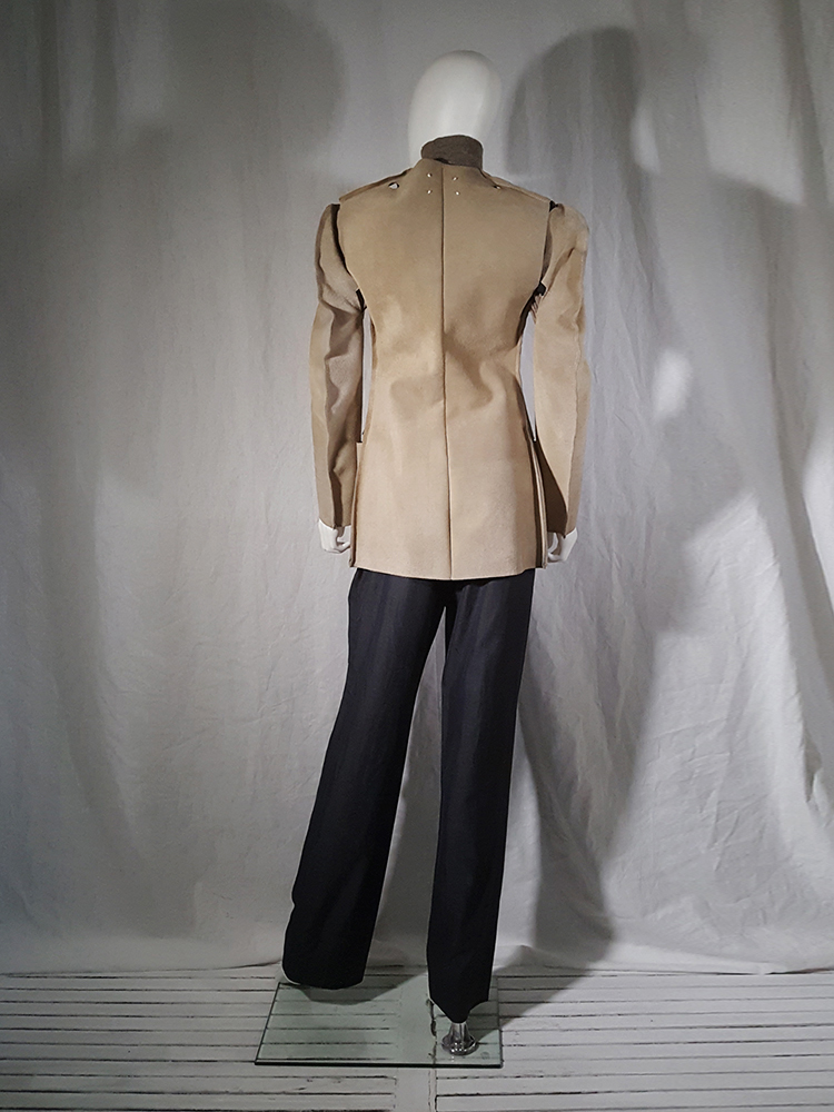 Maison Martin Margiela beige leather flat jacket — spring 1998