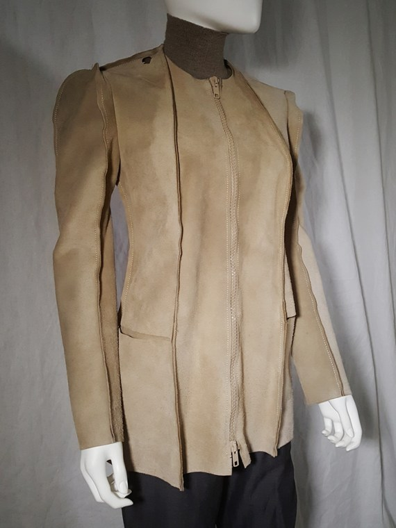 vintage Maison Martin Margiela beige leather flat jacket spring 1998 190041